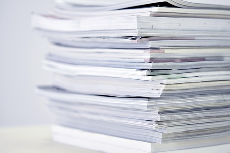 periodical: Stack of �agazines with selective focus on foreground edge