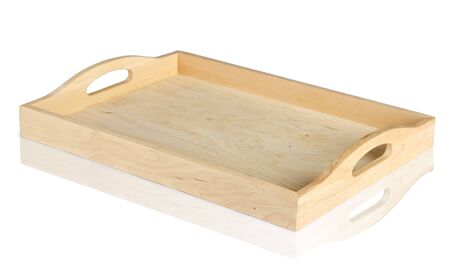 empty wooden tray isolated on white background  Clipping path included  Reklamní fotografie