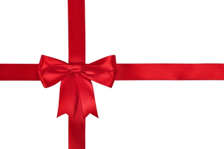 Red ribbon with bow isolated on white background. Clipping path included.