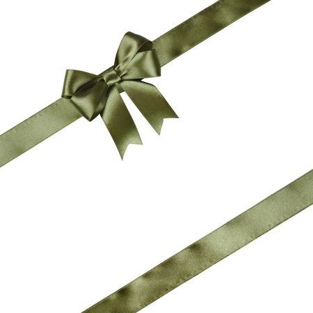 silk bow: Green ribbon with bow isolated on white background.