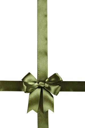 Groen lint met strik geà ¯ soleerd op een witte achtergrond. Het knippen inbegrepen weg.