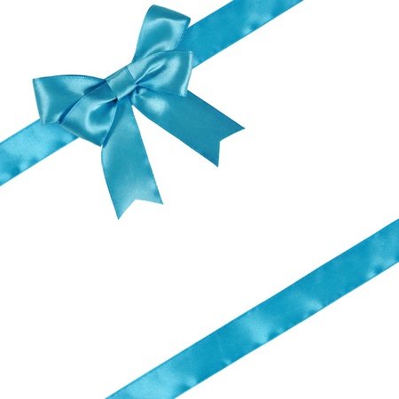 man made object: Blue ribbon with bow isolated on white background. Clipping path included.