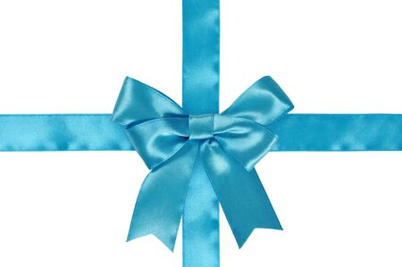 goodie: Blue ribbon with bow isolated on white background. Clipping path included.