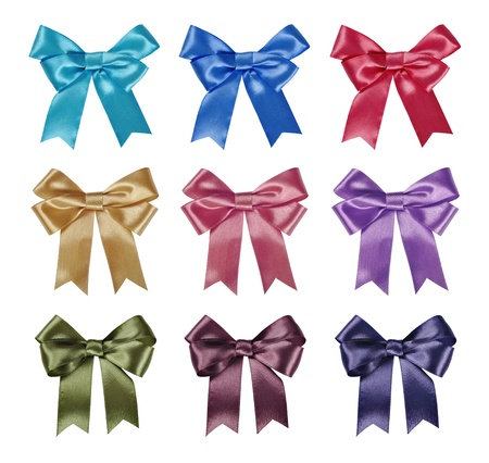 Set of ribbon bows - red, pink, blue, gold, green - all colors collection. Clipping path for each bow included. photo