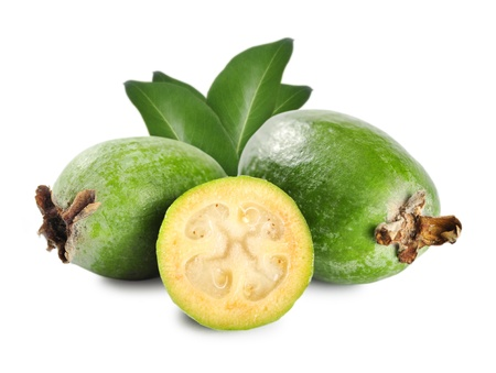 feijoa: Tropical fruit feijoa  Acca sellowiana  isolated on white