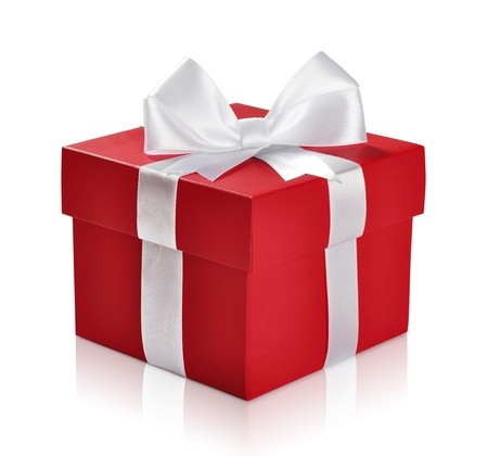 Red gift box with white ribbon isolated on white background. Clipping path included. Stock Photo