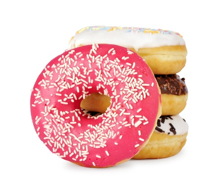 Pile of assorted donuts isolated on a white background photo
