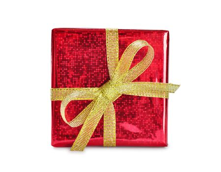 Red gift box with golden ribbon and bow, isolated on white background Stock Photo - 16820499