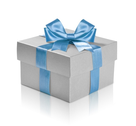 Silver gift box with blue ribbon over white background. Clipping path included. Stock Photo