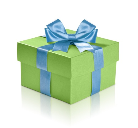 Green gift box with blue ribbon over white background. Clipping path included. photo
