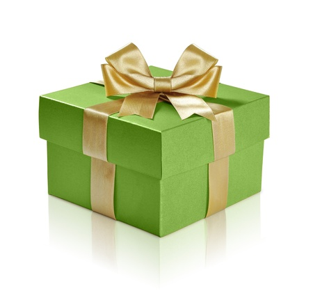 Green gift box with gold ribbon over white background. Clipping path included. Stock Photo