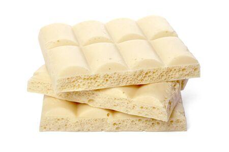 White porous chocolate pieces isolated on white Stock Photo - 17360602