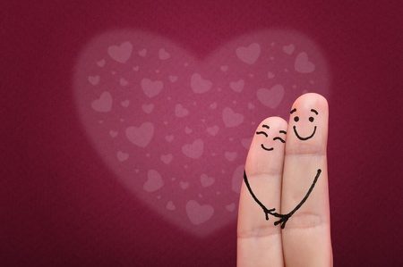 Valentine s day concept  Happy fingers in love Stock Photo - 17601126