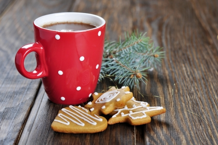 red hot: Cup of hot chocolate, a fir tree branch  and ginger biscuits on a wooden background