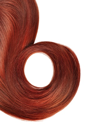 flaxen: long red hair style  isolated on white background