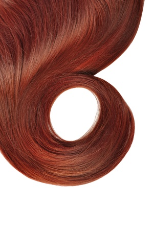 uncombed: long red hair style isolated on white background