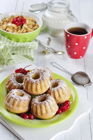 muffins on green plate with viburnum and muesli in bowl on wooden table Stock Photo - 17999391