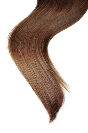 flaxen: long brunette  hair style on white isolated background Stock Photo
