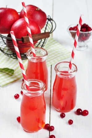 tubules: Cranberry juice in glass jars and fresh apples in vintage basket on a white  wooden background