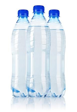 Three Soda water bottle  isolated on white background photo