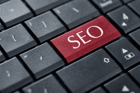 SEO concepts, with message on enter key of keyboard Stock Photo - 18289396