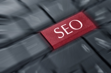 SEO concepts, with message on enter key of keyboard Stock Photo - 18289353
