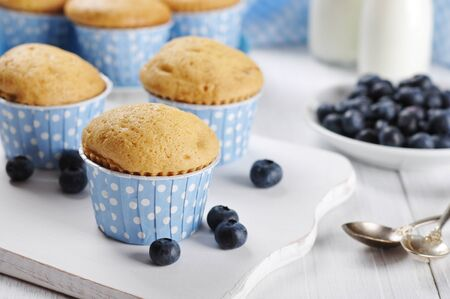 Muffins with fresh blueberries on white wooden table photo
