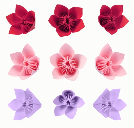 Origami flowers from color paper isolated on white background photo
