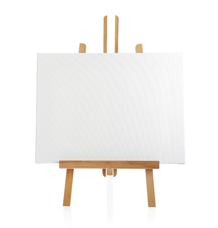 wooden easel with blank canvas isolated on white background Stock Photo