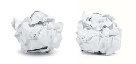 crumpled sheet: Crumpled paper balls isolated on white background. Clipping path included.