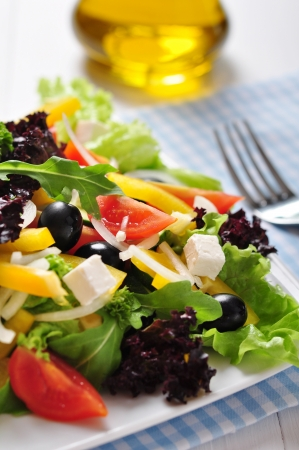 Greek salad on white plate on wooden background closeup Stock Photo - 19686101