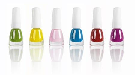 bright nail polishes isolated on white.  photo