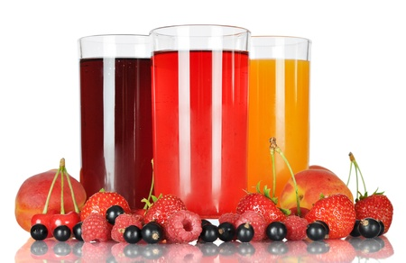 Berry juice in glasses with fresh berries isolated on white background photo