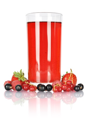 Glass og juice with fresh berries isolated on white  Clipping pash included  photo