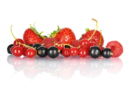 Group of berries isolated on white background photo