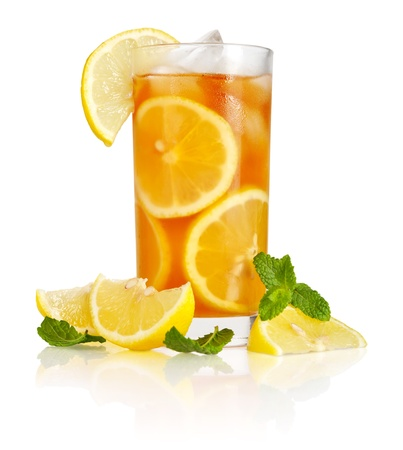 Glass of ice tea with lemon and mint on white background photo