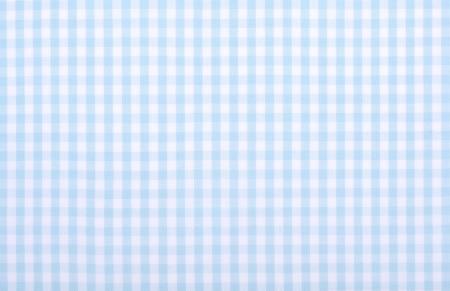 淡い青い格子縞生地クローズ アップ、テーブル クロスのテクスチャ