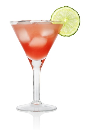 Red Cosmopolitan Cocktail  with a slice of a lime, isolated on a white background photo