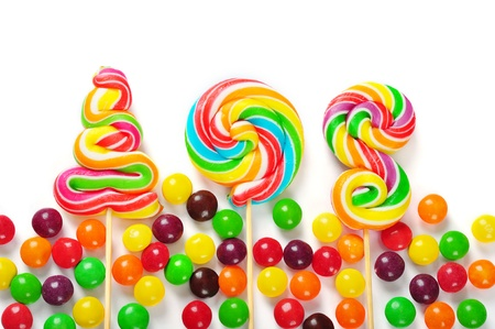 colorful candies isolated on white background. photo