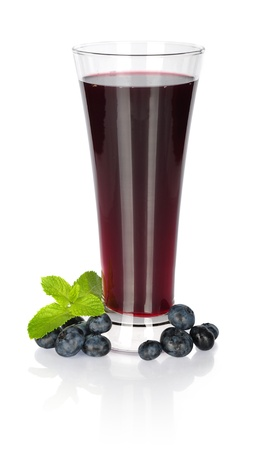 Glass of fresh blueberry juice with fresh  blueberries on white photo