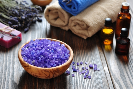 spa therapy: Sea salt in wooden bowl and lavender. Spa concept