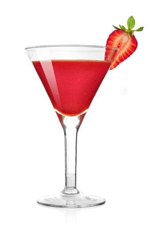 daiquiri alcohol: Frozen strawberry daiquiri alcohol cocktail. Isolated on white background
