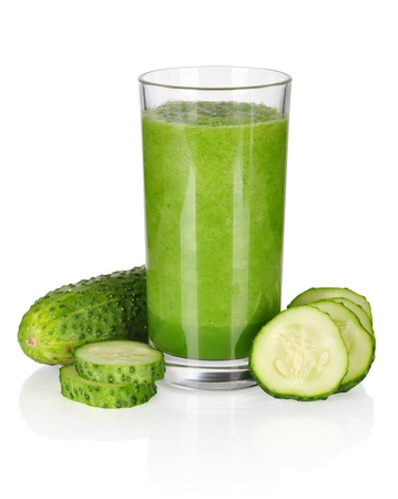 cucumber slice: vegetable smoothie from spinach and cucumber isolated on white