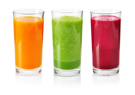 beet juice: Vegetable smoothie from cucumber, beet and carrot isolated on white Stock Photo
