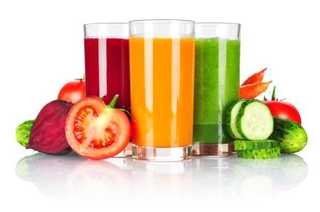 Fresh vegetable smoothie isolated on white background Stock Photo