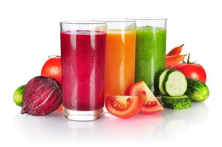 fruit drinks: Fresh vegetable smoothie isolated on white background Stock Photo