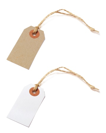 etiquette: Brown and white tags isolated on white background Stock Photo