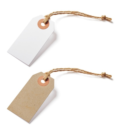 etiquette: White and brown blank tags isolated on white background