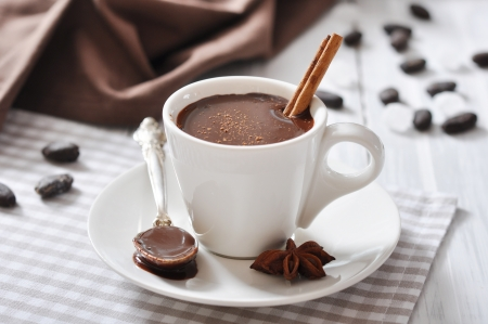 chocolate powder: Hot Chocolate in cup with cocoa powder and cinnamon stick on wooden background