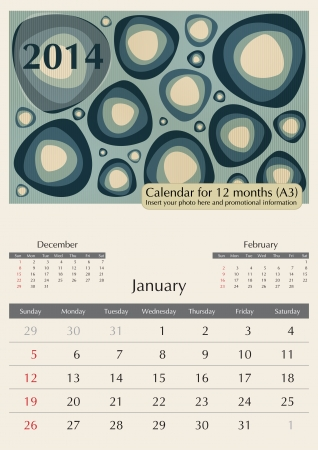 a3: January. 2013 Calendar. Optima fonts used. A3